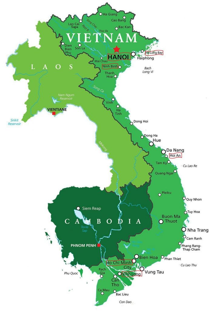 Map for Vietnam Private Tour